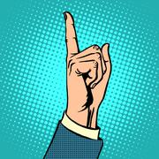 Attention gesture thumbs up - stock illustration