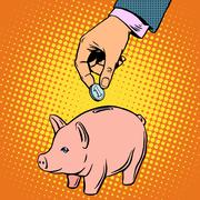 Piggy Bank contribution money - stock illustration