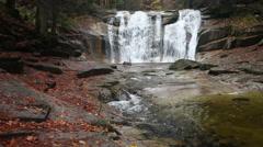 Mumlava Falls in Autumn Stock Footage
