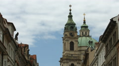 St Nicholas's towers in Prague Stock Footage
