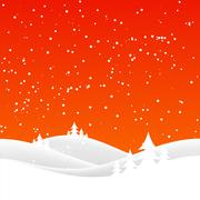 christmas snow hills - stock illustration