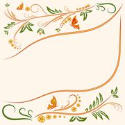 Background Floral ornament with butterflies Stock Illustration