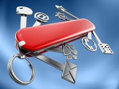 Swiss knife with technology icons - stock illustration