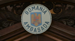 The Romanian Embassy sign in Prague Stock Footage