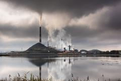 Industrial landscape in Karabash, Chelyabinsk region, Russia - stock photo