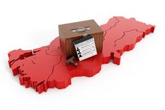 Ballot box on map of Turkey Stock Illustration