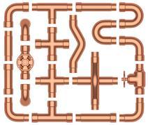 Copper pipes set - stock illustration