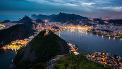 4K Day To Night Sunset Time Lapse Of Rio De Janeiro From Sugar Loaf Mountain Stock Footage