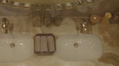 Royal interior of wash basin. Stock Footage