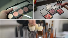 Make-Up Cosmetics Tools Collage Stock Footage