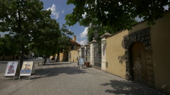 The beautiful Royal Garden gate in Prague Stock Footage