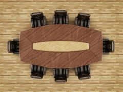 Boardroom table and chair Stock Illustration