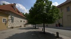 U Prašného mostu Street with buildings and trees in Prague Stock Footage