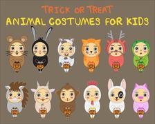 Halloween children trick or treating in Halloween costume Stock Illustration