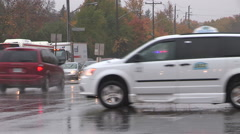 Traffic lights out and flashing during power outage in Toronto rain storm Stock Footage