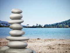 Balanced stones on the beach Stock Illustration