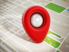 Red marker on navigation map - stock illustration