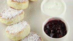 Cheese pancakes with sour cream and jam Stock Footage