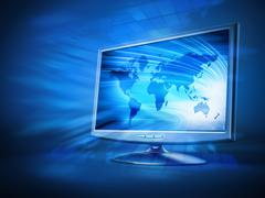 Computer monitor with blue earth background on the screen - stock illustration