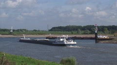Maas-Waal canal intersection river Waal + inland ships Stock Footage