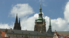 St Vitus Cathedral's spires in Prague Stock Footage