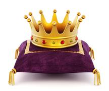 Gold Crown on the pillow - stock illustration