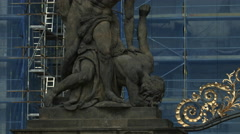 Close up view of a statue at Prague Castle Stock Footage