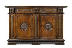 Old original Italian vintage wooden carved sideboard buffet Stock Photos