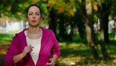 The Slow Motion Of Running In A Nature Stock Footage