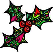 Folk Art Holly Sprig - stock illustration