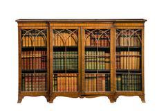 Antique bookcase wooden glazed doors isolated on white - stock photo