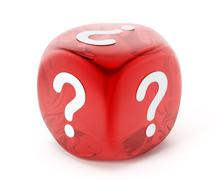 Dice with question mark symbol Stock Illustration