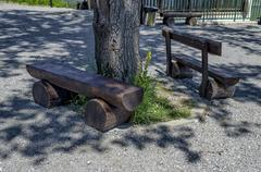 Bench for repose by upper funicular station - stock photo