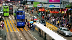 HONG KONG -City centre street view in rainy day with trams and people. 4K Stock Footage