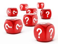 Stock Illustration of Dice with question mark symbol