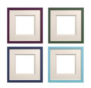 Stock Photo of mauve, green, blue or cyan picture frame with card insert isolated