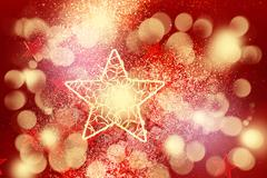 Red glitter decoration with big golden star - stock photo