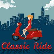 Woman riding on red motorcycle Stock Illustration