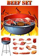 Different kind of meat on the grill - stock illustration