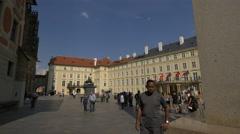 Many tourists visiting Hrad III nádvoří at Prague Castle Stock Footage