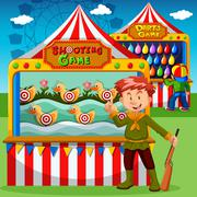 Game booths at the carnival - stock illustration