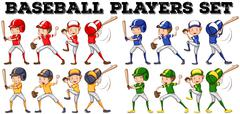Baseball players in different positions Stock Illustration