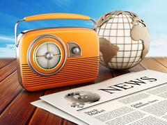 Vintage radio, newspaper and globe - stock illustration