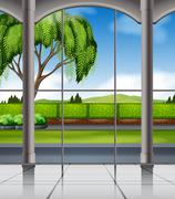 Nature view from the window - stock illustration