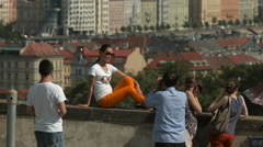 Tourists taking pictures at Prague Castle Stock Footage