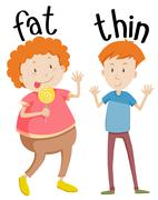 Opposite adjectives fat and thin - stock illustration