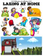 Boys and girls resting at home - stock illustration