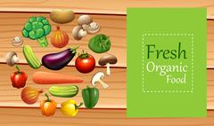 Mixed vegetables on poster - stock illustration