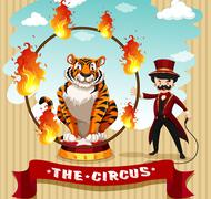 Tiger in fire hoop and ring master Stock Illustration