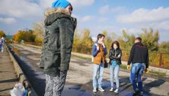 The situation on the bridge at the time of preparation for the jump Stock Footage